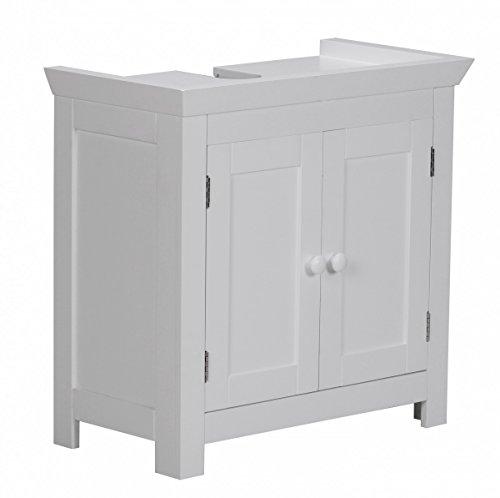 Preisvergleich Produktbild Waschbeckenunterschrank Holz Weiß 57 x 30 x 55 cm | Badregal mit Siphonausschnitt | Badezimmer Regal stehend mit 2 Türen |Waschtischunterschrank freistehend