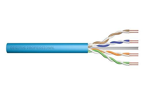 DIGITUS Professional CAT6A U-UTP Installationskabel – 500 m – Simplex - Ethernet-Kabel Meterware mit lichtblauer Isolierung zum Verlegen