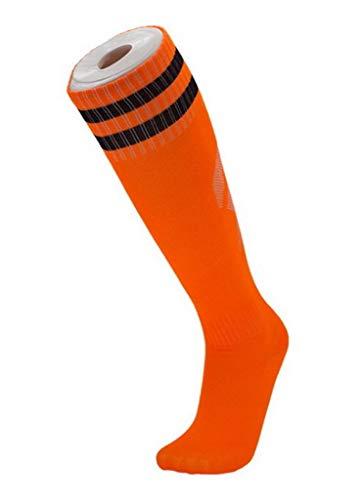 YiyiLai 1 Paar Sportsocke Hohe Socke Fussball Socken Strumpf Laufsocken Trekkingsocken Erwachsene 36-45 Größe Orange