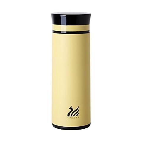 upstyle anti-fuites en verre Premium thermoses Bouteille d'eau Business Aspirateur Thermos Tasse de voyage isotherme en acier inoxydable conservation de la chaleur Café Tasse Sous Vide Taille 8.7Oz (260ml), Acier inoxydable, jaune, 8.7