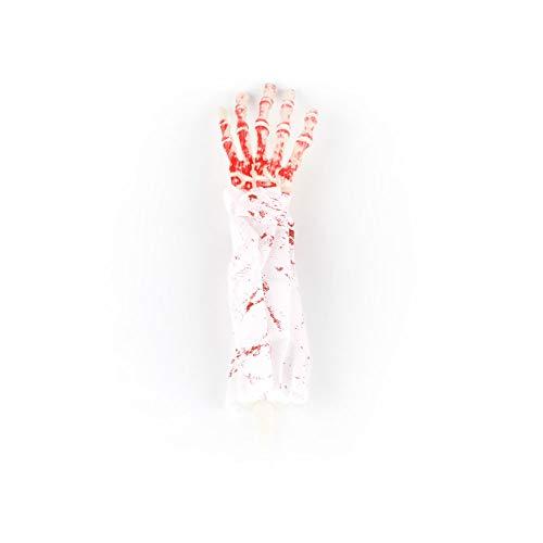 mi ji Decoración de Halloween de Miedo con Sangre Falsa Horror látex Brazo Mano Apoyos Bloody frecuentada del Partido de la decoración (Tela Blanca y la Mano Blanca) para Halloween