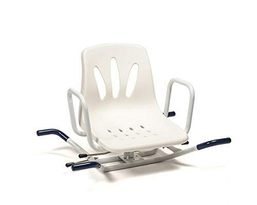 Sedia da bagno girevole a 360 gradi, sedile girevole sicuro per il bagno con schienale e braccioli.
