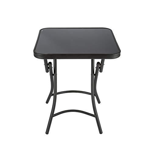 Haliwu Bistro–Mesa terraza jardín Mesa Mesa de Cristal Plegable–Mesa de café, 60cm Schwarz