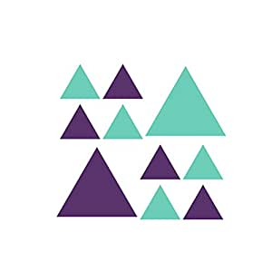 Lot de 50 Triangles Vert menthe/violet Vinyl Stickers muraux Stickers Peel and Stick Graphic Motif Triangle de Patchs  avec bloc-notes adhésives