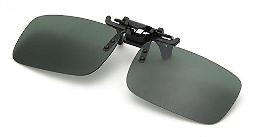 WODISON Unisex Rechteck polarisierte Klipp auf Klapp-Sonnenbrille für Brillen im Freien und Fahren (Dunkelgrün)