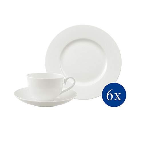 Villeroy & Boch - Royal Kaffeeservice 18 tlg., Set aus Premium Bone Porzellan für 6 Personen, Teller, Kaffeetasse, Untertasse, spülmaschinenfest