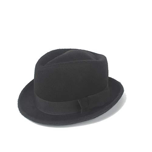 S.Y.MMSY Frauen Hut 2019 Fedora Hut Retro Bogen fühlte Wolle Gentleman Sombrero Hut Herbst Hut Panamahut Ritter Cap (Farbe : Schwarz, Größe : 56-58CM) (Fühlte Angeln Hüte)