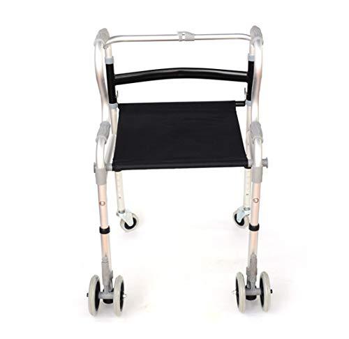 Girello Piegare Deambulatore Posto a Sedere con Freno Schienale Bracciolo Regolabile per Anziani/Disabili,A