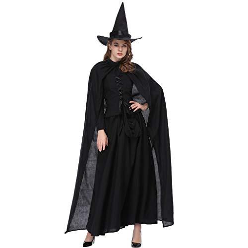 Cosplay Assassin's Kostüm Billig Creed - Sllowwa Halloween Kostüm Damen Hexe Cosplay Karneval Abendkleid Spitze Kleid Verkleidungsparty(Schwarz,X-Large)