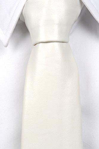 Notch Krawatte aus Leder Imitat für Herren - Einfarbig Weiß