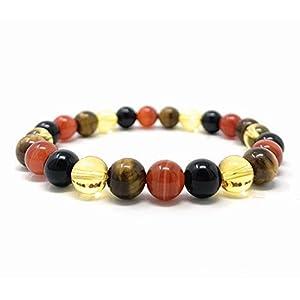 Leo Crystal Bracelet – Power Bead Bracelet – Zodiac Birthstones – Gift Box & Leo Tag – Carnelian, Citrine, Tigers Eye, Onyx