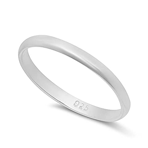 2mm Solid 925 Sterling Silver Domed Italian Crafted Wedding Band,