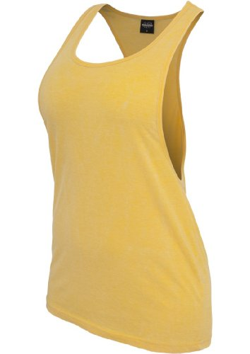 Urban Classics Ladies Loose Burnout Tanktop-T-shirt sportiva Donna Yellow