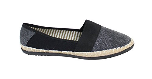 By Shoes - Espadrille Plate Style Jean - Femme Noir