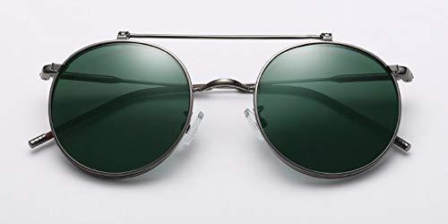 WSKPE Sonnenbrille Runde Metall Style Sonnenbrille Klappbare Greifer Sonnenbrille Grauer Rahmen Dunkel Grüne Linse