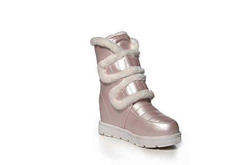 AllhqFashion Damen PU Leder Hoher Absatz Rund Zehe Ziehen auf Mitte-Spitze Stiefel, Pink-Schleife, 33