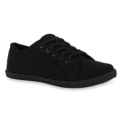 Stiefelparadies Damen Sneaker Low Bequeme Turnschuhe Schnürer Leder-Optik Schuhe Cut Out Freizeitschuhe 172741 Schwarz Cut-Outs 41 Flandell -