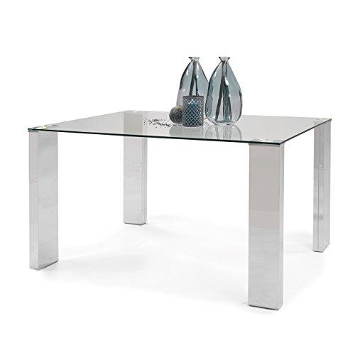 Homely - Mesa de comedor KARINA II sobre en cristal templado y base en