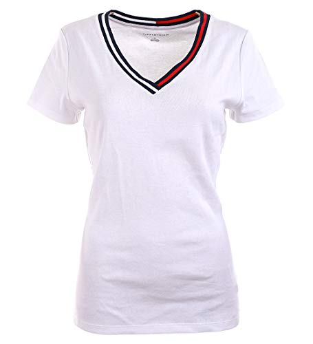 Tommy Hilfiger T-Shirt, Women's V-Neck Signature T-Shirt, White, XL