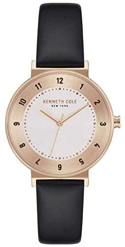 Kenneth Cole Orologio da donna con quadrante bianco cinturino in pelle nera KC50075003