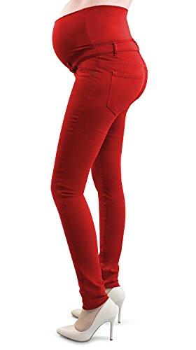 Mamajeans - Mutterschaft Hose/Jeggings Damen Umstandhose aus elastische Baumwolle - Made in Italy Rot
