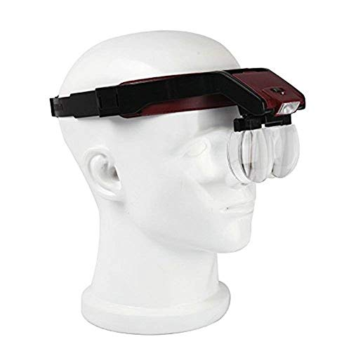 HJBH Stirnband Lupe -1,7/2,0/2,5/3,5X 4 Linsentypen Doppelkartensteckplatz Mehrfachkombination LED-Expansionsspiegel Reparatur Uhr Schmuck lesen