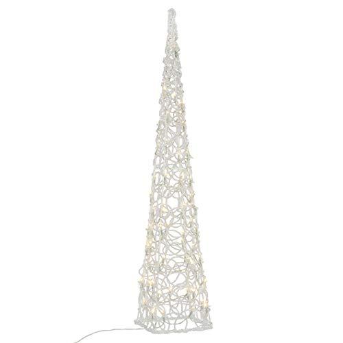 LED Pyramide Lichterkegel - Beleuchtung für Weihnachten innen außen - Acryl-Figur mit Trafo IP44 Timer 60 LED warm-weiß 90 cm hoch Xmas-Deko