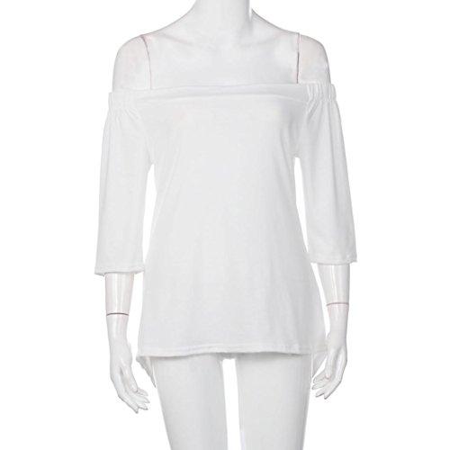 Femmes Chemisier, OverDose Sexy Tops IrréGulier Off The Shoulder DéContractéE Court Manche T-Shirt Tops Divisé Chemisier Blanc