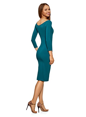 oodji Ultra Damen Enges Kleid mit U-Boot-Ausschnitt Grün (6C00N)
