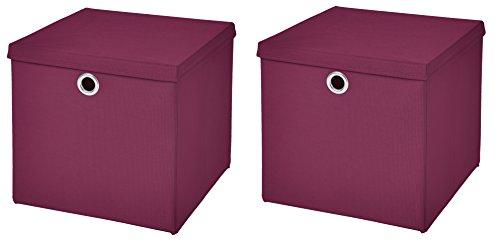 CM3 2 Stück Burgundy Faltbox 32 x 32 x 32 cm Aufbewahrungsbox faltbar mit Deckel