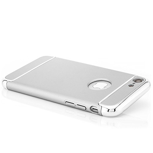 Saxonia iPhone 8 / 7 Hülle Case Cover Ultra TPU Slim Backcover Schale + Rahmen mit extra Kantenschutz Rot Silber