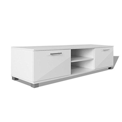 vidaXL Meuble TV à haute brillance blanc 120 x 40,3 x 34,7 cm Meuble pour Télévision