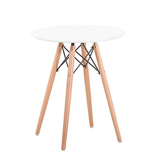 Großer Möbeltisch Nordic Modern Fashion Einfache Tabelle Startseite Massivholztisch Kleine Runde for Tischbesprechung (Farbe : Weiß, Größe : 80x72cm) (Modernen Weißen Esstisch Satz)