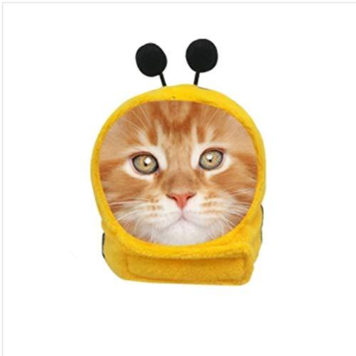 ZLALF Haustier Kopfbedeckung Verstellbares Stirnband Mit Süßer Ohrwärmmütze Weicher Kopf Zubehör Für Hamster Kätzchen Kaninchen Ratten Meerschweinchen Welpen Und Kleintiere,Bee-M