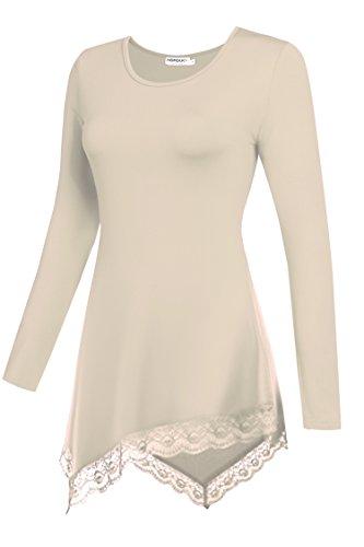 HOTOUCH Damen Pullover V-Ausschnitt Pulli Tunika Langarm Bluse Basics T-Shirt Shirt Typ2-Aprikose