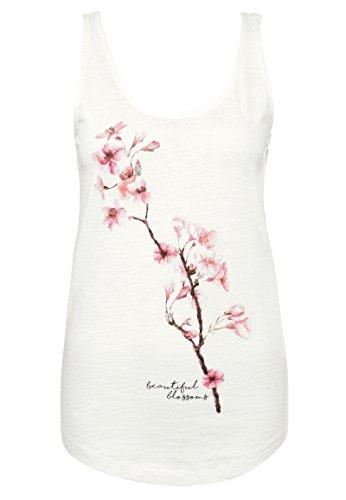 Stitch & Soul Damen Top mit Blumen Print | Leichtes Ärmelloses Basic Shirt mit Aufdruck White