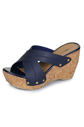 Shezone Beautiful Blue Color Synthetic Material Wedges for Womens from A014_Blue_36