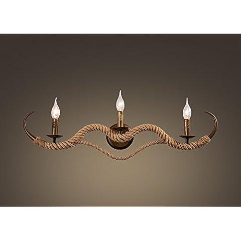 CLG-FLY Vintage industrial viento cuerda oro pared lámpara pared sala comedor dormitorio den pared