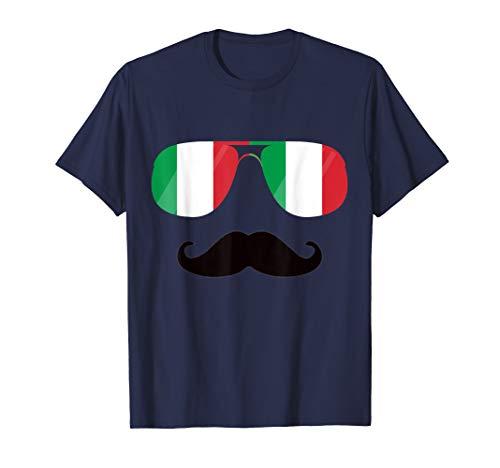 Italien Flag Sonnenbrille Schnurrbart Lustige Italia Flaggen T-Shirt