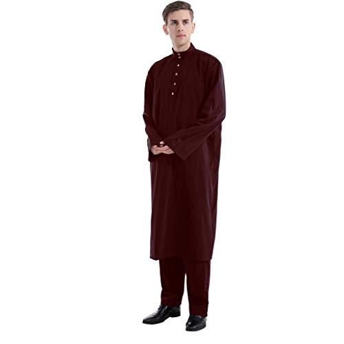 QHJ Männer Ethnische Lange Ärmel Islamischer Muslim Mittlerer Osten Maxi-Roben-Hosen-Suite Kaftan Zweiteilige Herren-Roben