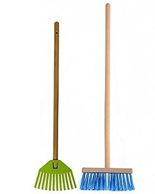 Ondis24 Gartengeräte Kinder-Set Laubrechen und Besen