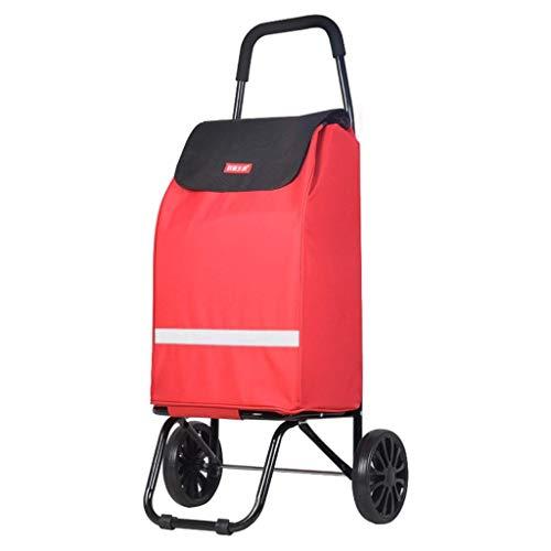 Fishroll Carro del Bolso de la Carretilla, Ruedas Plegables de ABS para el Carro de Mano, Bolsa de Compras portátil, Liviana y de Gran Capacidad (Color : Red)