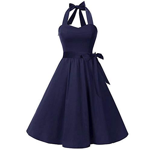 VJGOAL Mujer Primavera y Verano Moda Casual Sin Mangas Lunares Encaje Vintage Hepburn Columpio Cintura Alta Péndulo Grande Vestido Plisado Falda(Small,Azul marino2)