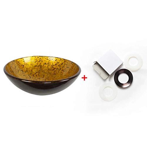 LTAYZ Gehärtetes Glas Badezimmer Waschbecken, Retro Black Flower Gold Gesicht 12L Kapazität Waschbecken Home Hotel Band Wasserhahn / 420 * 145mm,Singlebasin
