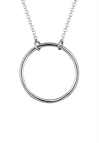 Elli Damen-Halskette mit Anhänger Kreis Rund Geo Minimal Schlicht Zeitlos silber 925 - 45cm Länge