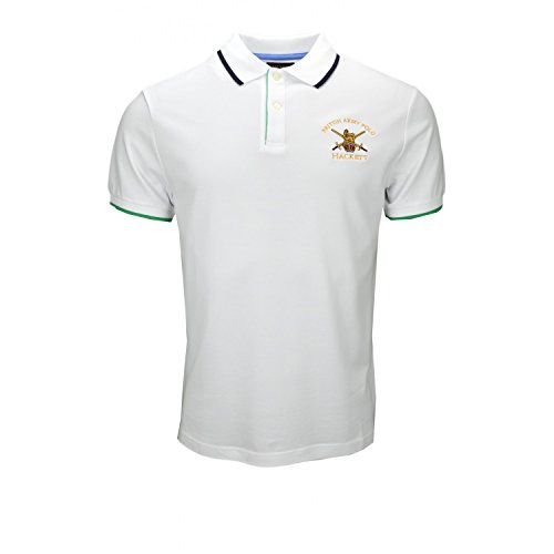HACKETT LONDON Herren Poloshirt Army Pop Tippg Weiß