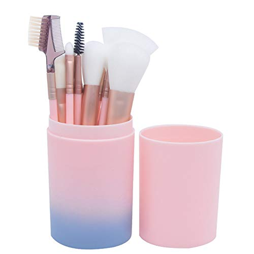 Make-up Bürste 12 Pcs Set Farbverlauf Stiftung Cream Powder Brush Kit Make-up-Werkzeug Mit Cup Kunststoffhalter Fall Pink - Aluminium-palette-cup
