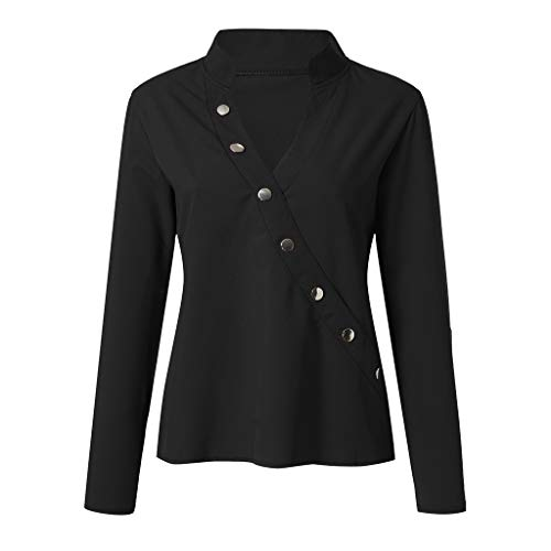 UJUNAOR Frühling Frauen Langarm V-Ausschnitt Solide Button Shirt -