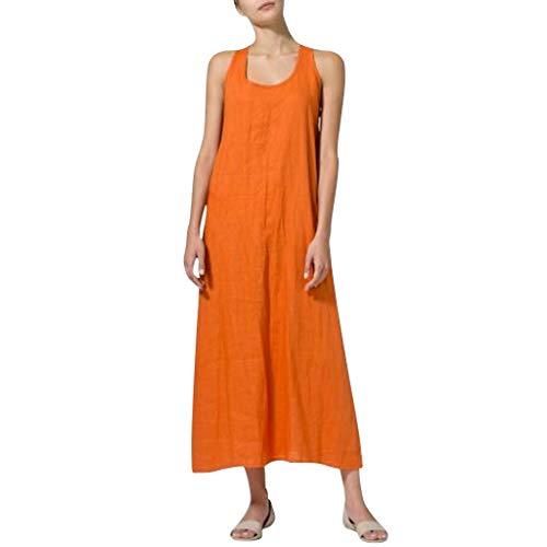 iYmitz O-Neck Kleider Damen Freizeit Strandkleider Lose Sommerkleider Einfarbig Tunika Leinen Shirtkleid Midikleider(X8-Orange,EU-36/CN-M) -