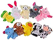 10pcs/lot Cute Animals Rabbit Dog Bear Finger Puppet Plush Toys Doll For Baby Early Educational Toys Birthday Christmas Gifts